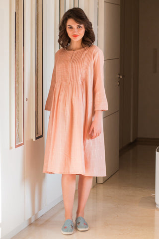 Peach Gold Maternity & Nursing Dress