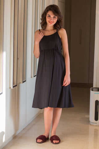 Elegant Black Maternity Night Dress