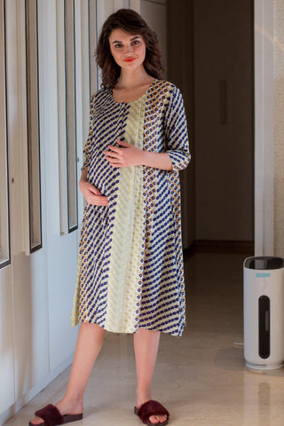 Soothing Patterned Maternity & Nursing Night Dress