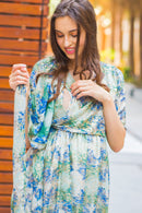 Green Embellished Hi-Low Frill Maternity & Nursing Wrap Dress - MOMZJOY.COM