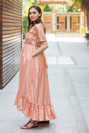 Peach Embellished Hi-Low Maternity & Nursing Wrap Dress