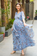 Luxe Foil Embellished Georgette Maternity Dress With Sleeves
