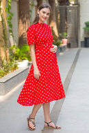 Red Polka Maternity Swing Dress - MOMZJOY.COM