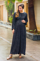 Exquisite Midnight Gold Maternity Knot Dress - MOMZJOY.COM