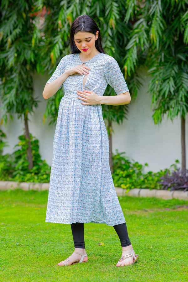 Chandelier White Concealed Zips Maternity & Nursing Kurta Dress