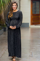 Exquisite Midnight Gold Maternity Knot Dress