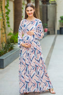 Abstract Pastel Maternity & Nursing Maxi Dress - MOMZJOY.COM