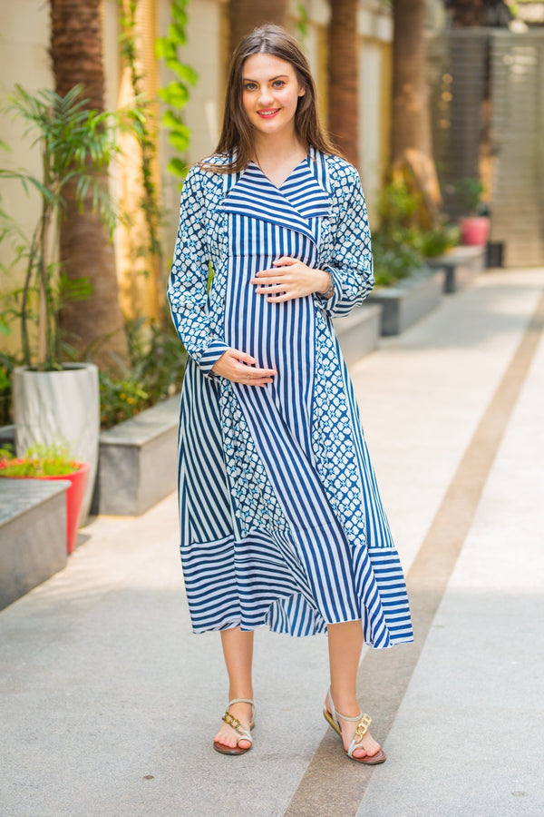 Indigo Striped Maternity and Nursing Maxi Dress - MOMZJOY.COM
