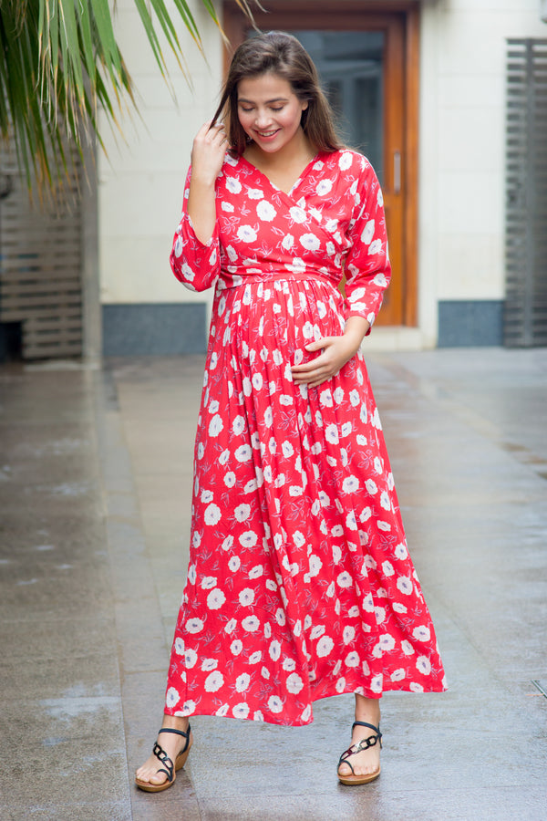 Red White Floral Maternity & Nursing Wrap Dress