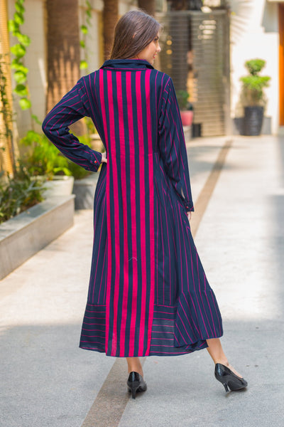 Regal Striped Maternity & Nursing Dress - MOMZJOY.COM