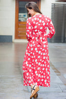 Red White Floral Maternity & Nursing Wrap Dress - MOMZJOY.COM