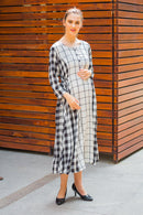 Universal Viscose Plaid Maternity & Nursing Dress - MOMZJOY.COM