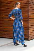 Indigo Plaid Maternity & Nursing Maxi - MOMZJOY.COM