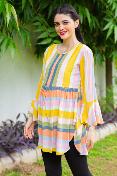 Hello Yellow Striped Nursing Top
