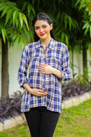 Cool Blue Gathered Maternity & Nursing Top