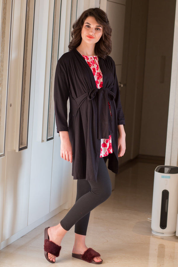 Versatile Black Maternity Cover Up - MOMZJOY.COM