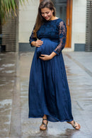 Luxe Elegant Blue Lace Embroidered Maternity Dress - MOMZJOY.COM