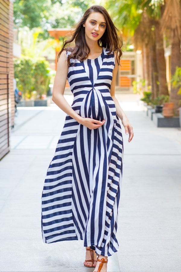 Chic Striped Maternity and Nursing Maxi Dress - MOMZJOY.COM