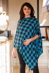 2 in 1 Double Sided Luxe Ocean Plaid Nursing Stole