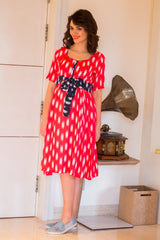 Pink Front Button Maternity & Nursing Swing Dress