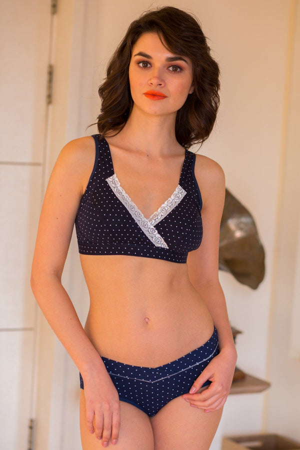 Blue Polka Dot Maternity & Nursing Lingerie Set (Set of 2) - MOMZJOY.COM
