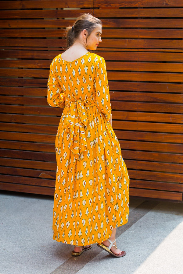 Marigold Yellow Knot Maternity Midi Dress - MOMZJOY.COM
