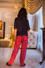 Red Plaid Maternity Cotton Lounge Pants
