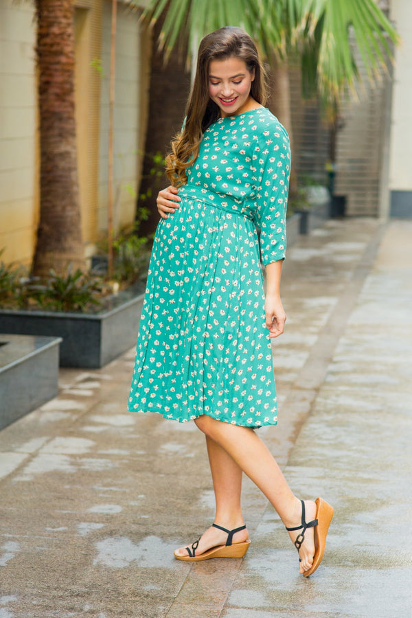Sea Green Blossom Front Zip Maternity & Nursing Dress
