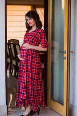 Classic Chic Red Plaid Maternity & Nursing Maxi