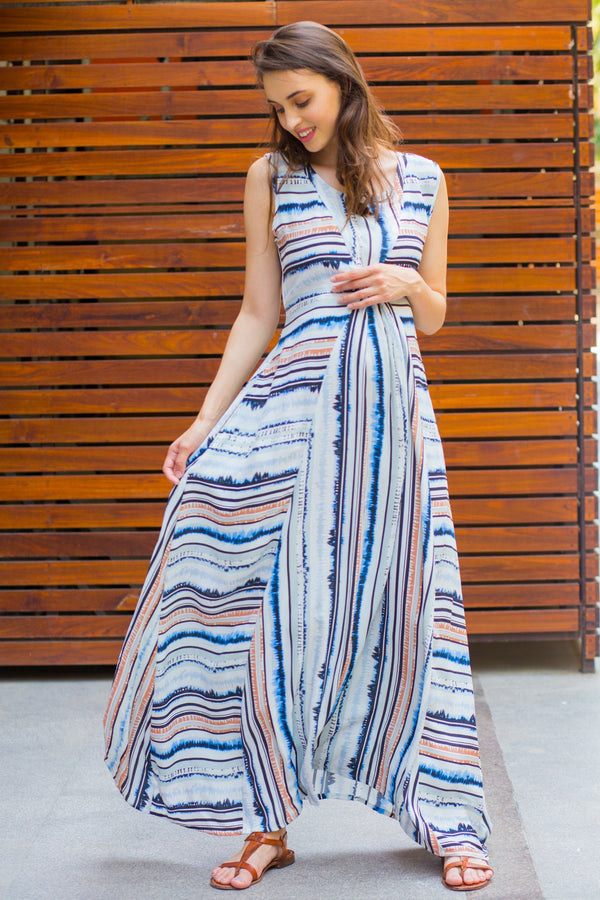 Unique Striped Maternity and Nursing Maxi Dress