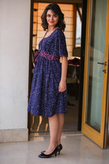 Blue Polka Front Button Maternity & Nursing Crepe Swing Dress