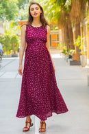 Burgundy Silver Embellished Sleeveless Maternity & Nursing Maxi Dress - MOMZJOY.COM