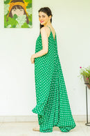 Set of 2 - Emerald Green Polka Cotton Maternity Jumpsuit with Cover Up