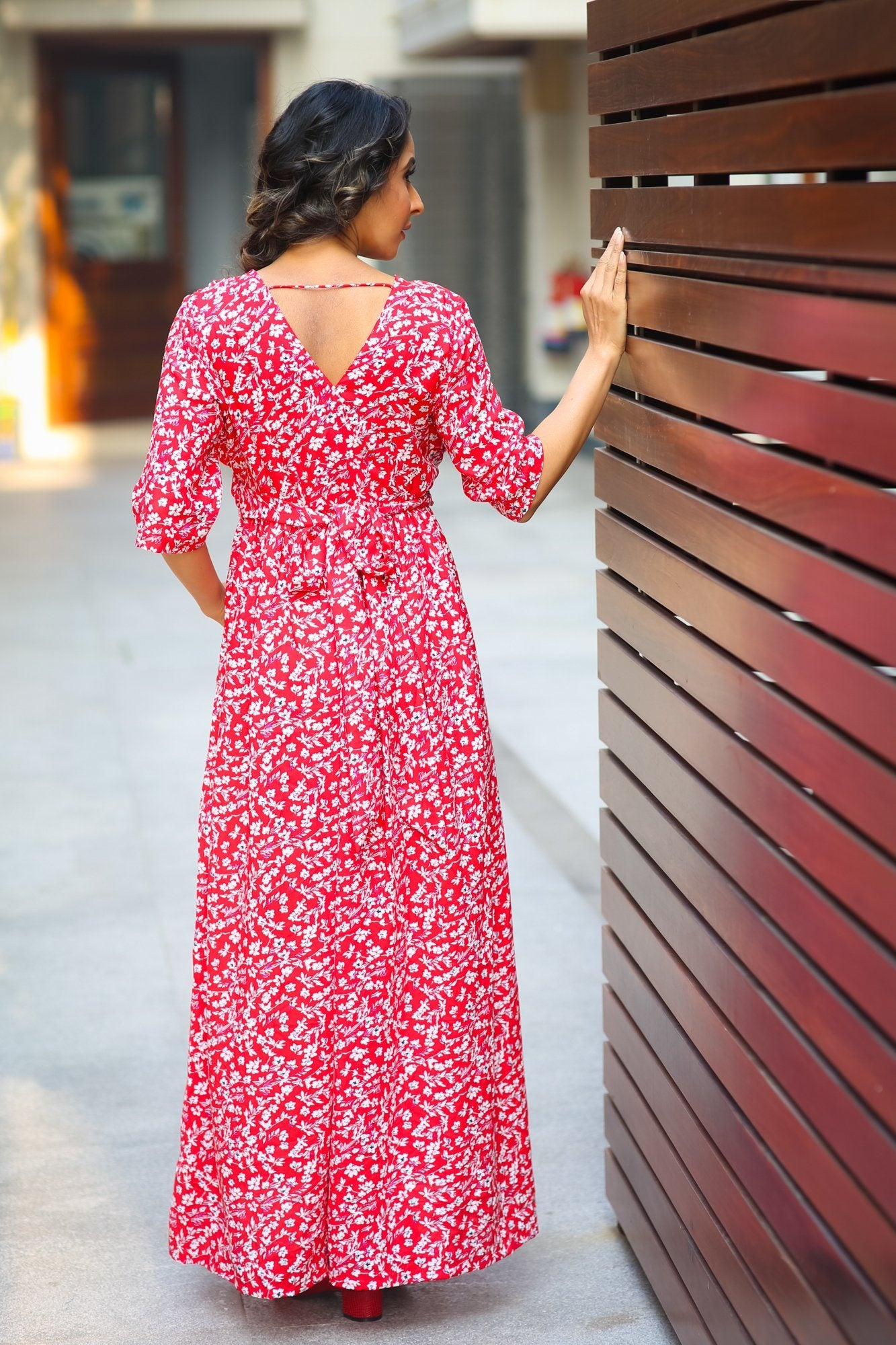 Candy Red Floral Maternity & Nursing Wrap Dress