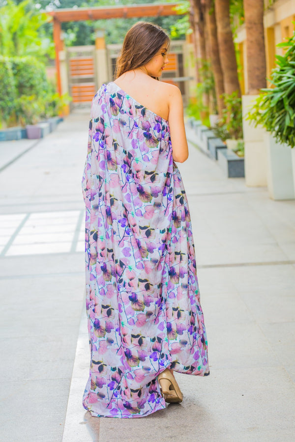 Luxe Ombre Pink One Shoulder Floral Maternity Gown - MOMZJOY.COM