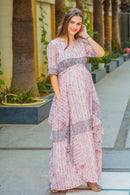 Victoria Flowy Maternity Dress With Sleeves