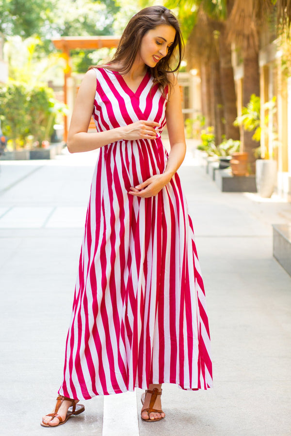 Chic Berry Striped Maternity and Nursing Maxi Dress - MOMZJOY.COM