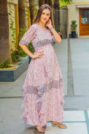 Victoria Flowy Maternity Dress With Sleeves - MOMZJOY.COM