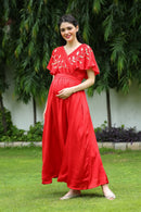 Premium Leafy Hand Embroidered Maternity & Nursing Dress