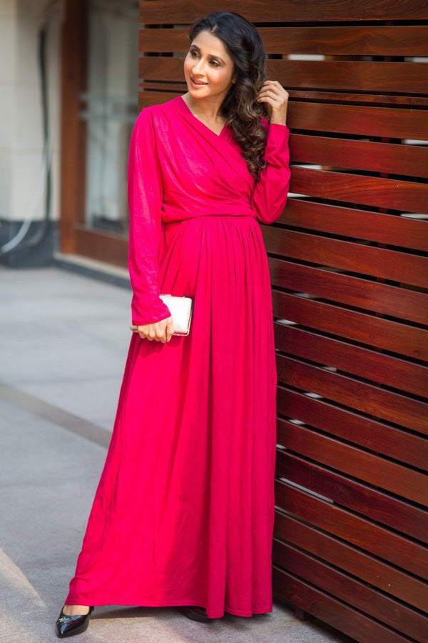 Royal Carnation Maternity & Nursing Lycra Wrap Dress - MOMZJOY.COM