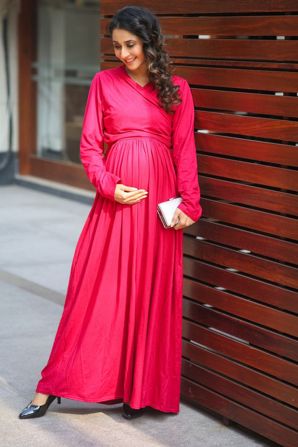 Royal Carnation Maternity & Nursing Lycra Wrap Dress