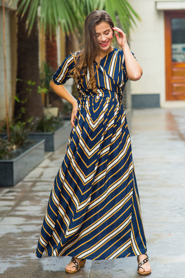 Royal Navy Striped Maternity & Nursing Wrap Dress