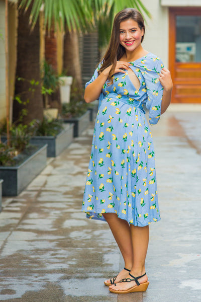 Arctic Blue Lemon Floral Maternity & Nursing Flap Dress - MOMZJOY.COM
