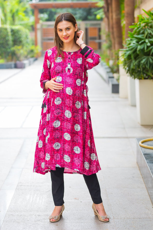 Burgundy Geometrical Maternity & Nursing Kurta - MOMZJOY.COM
