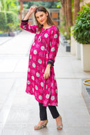 Burgundy Geometrical Maternity & Nursing Kurta