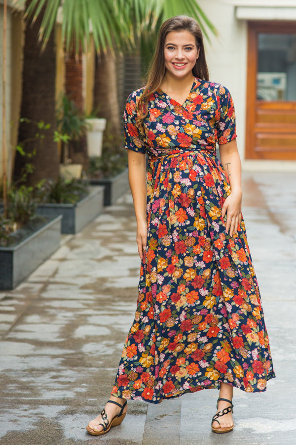 Vivacious Blue Floral Maternity & Nursing Wrap Dress - MOMZJOY.COM