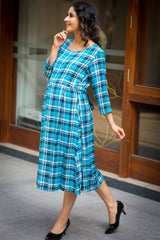 Chic Sky Blue Plaid Maternity & Nursing Tie Dress