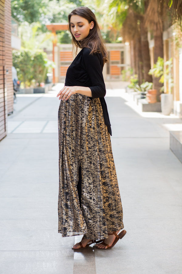 Luxe Gold Maternity & Nursing Wrap Dress - MOMZJOY.COM