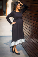 Classic Black Lycra High-Low Frill Maternity Dress - MOMZJOY.COM
