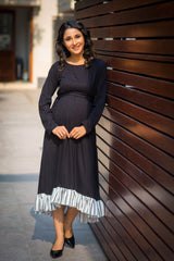Classic Black Lycra High-Low Frill Maternity Dress